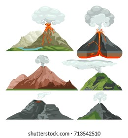 Fired up volcano mountains with magma and hot lava. Volcanic eruption with dust clouds vector set. Volcano with lava, mountain rock volcanic with hot magma illustration
