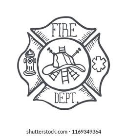 Firefigher Badge. Fire Department Badge. Vector Illustration