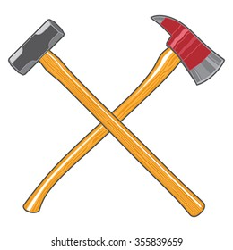 Firefighter Ax and Sledge Hammer is an illustration of a crossed firefighter or fireman's axe and a sledge hammer.