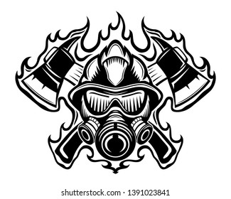 Firefighter with axes in flame sign on a white background.