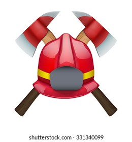 Firefighter Axes and helmet. Vector Illustration isolated on white background