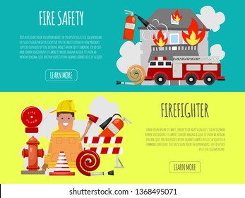 Firefighter banner vector illustration. Firefighting equipment firehose hydrant and extinguisher. Fireman in uniform with helmet and engine near house.