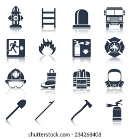 Firefighter black icons set with flame extinguisher emergency siren isolated vector illustration