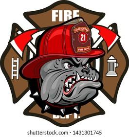 Firefighter Bulldog Tattoo and cross Ax