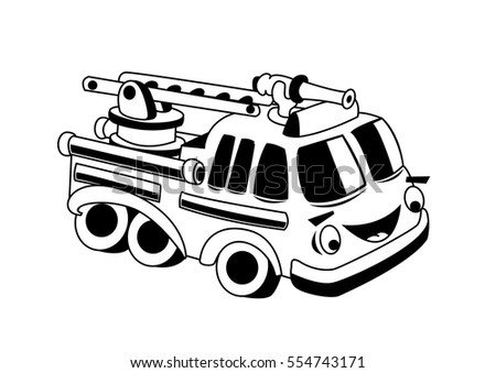 Firefighter Car Kids Stock Vector Royalty Free 554743171