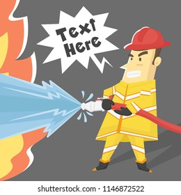 Firefighter cartoon character design trying to stop fire with heavy water jet stream - Vector illustration.