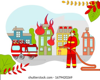 Firefighter cartoon character extinguish fire in burning house, flat style vector illustration. Fireman in uniform, emergency service truck, town house in flame. Brave man with water hose, rescue job
