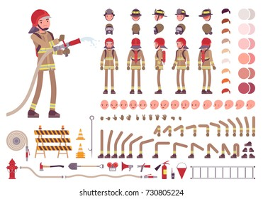 Firefighter character creation set. Full length fireman, different views, emotions, gestures, professional tools and attributes. Build your own design. Cartoon flat-style infographic illustration
