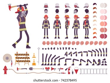 Firefighter character creation set. Full length, different views, emotions, gestures, equipment for firemen to combat fire. Build your own design. Cartoon flat-style infographic illustration