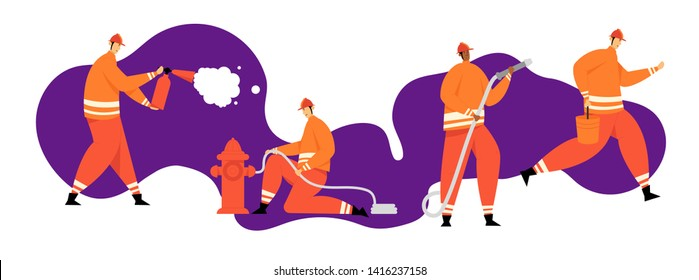 Firefighter Characters with Rescue Equipment. Firefighting Emergency Concept with Fireman in Action. Firefighters in Helmet with Extinguisher. Vector flat illustration