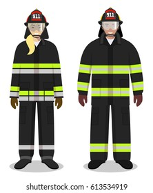 Firefighter concept. Couple of fireman and firewoman standing together on white background in flat style. Flat design people characters. Vector illustration