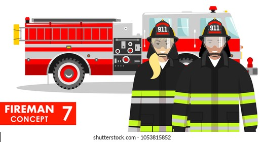Firefighter concept. Detailed illustration of fireman and firewoman in uniform standing together near fire truck in flat style on white background. Vector illustration.