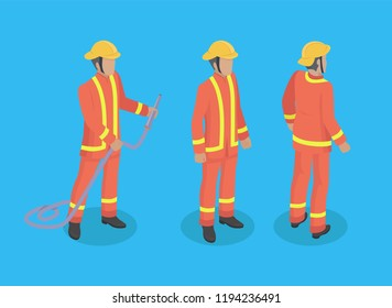 Firefighter construction set of men wearing special protective uniform. Male with firehose with helmet on head. Brigade of firemen isolated on vector