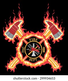 Firefighter Cross With Axes and Flames is an illustration of a fire department or firefighter cross with the firefighters tools logo and crossed axes with flame or fire background