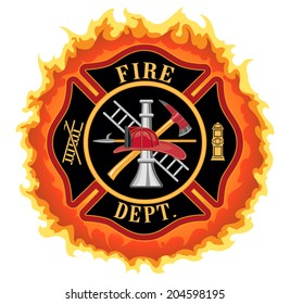 Firefighter Cross With Flames is an illustration of a fire department or firefighter Maltese cross symbol with flames. Includes firefighter tools symbol.