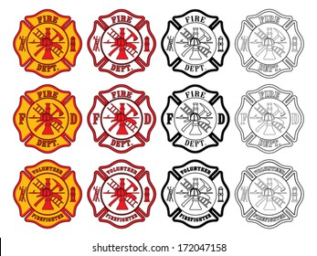 Firefighter Cross Symbol is an illustration of three slightly different firefighter or fire department Maltese Cross symbols. Each is presented in four styles of color.