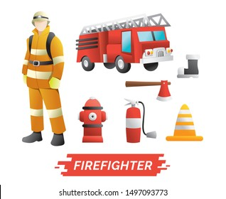 Firefighter design element. Set of characters of Profession Firefighter with Fire safety equipments. design vector element