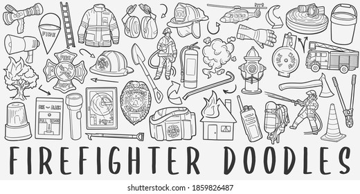 Firefighter doodle icon set. Fire Style Vector illustration collection. Banner Hand drawn Line art style.