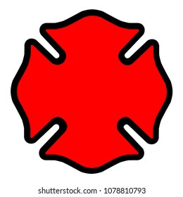 Firefighter Emblem Cross Shape Symbol Icon