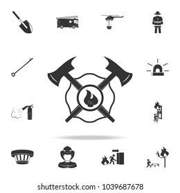 firefighter emblem icon. Detailed set icons of firefighter element icons. Premium quality graphic design. One of the collection icons for websites, web design, mobile app on white background