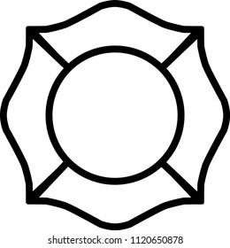 Firefighter Emblem St Florian Maltese Cross White with Black Outline