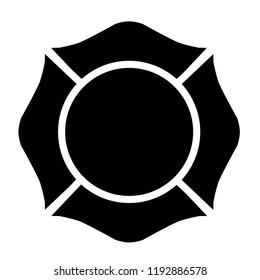 Firefighter Emblem St Florian Maltese Cross Black with White Outline
