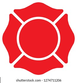 Firefighter Emblem St Florian Maltese Cross Red with White Outline