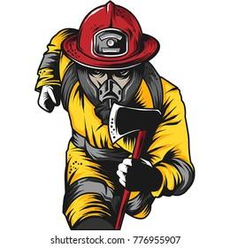 Firefighter Engraved Shirt Design Vector Logo Emblem Illustration
