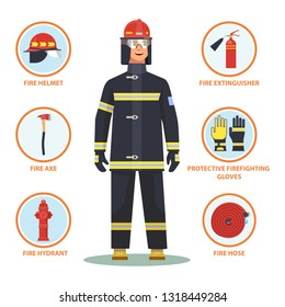 Firefighter with equipment like helmet and gloves, fire hose and hydrant, axe and extinguisher. Fireman with item infographic. Cartoon man in mask and waistcoat.