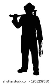 Firefighter with equipment silhouette vector on white background