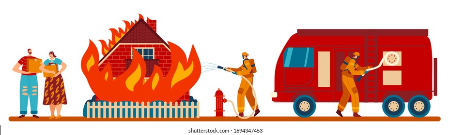 Firefighter extinguish fire in burning house, people accident victims, vector illustration. Fireman cartoon character in uniform, house in flames, flat style set isolated on white. Emergency service