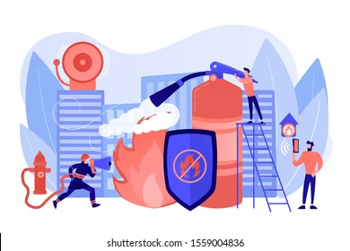 Firefighter extinguishing flame character. Rescuer dangerous job. Fire protection, fire prevention technologies, fire protection services concept. Pinkish coral bluevector isolated illustration
