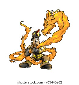 Firefighter fight Fire dragon color vector drawing mascot