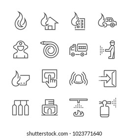 Firefighter and fire alarm icon set.