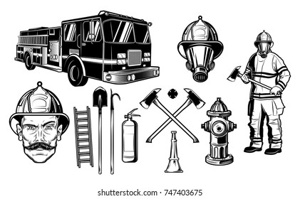 Firefighter and Fire department elements. Sketch style isolated vector illustration
