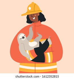 Firefighter in fire fighting operation. Vector flat heroic firewoman in protective suit and yellow helmet helps sloth. Web banner, webpage, landing page cartoon concept