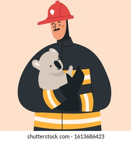 Firefighter in fire fighting operation. Vector flat heroic firewoman in protective suit and yellow helmet helps koala. Web banner, webpage, landing page cartoon concept