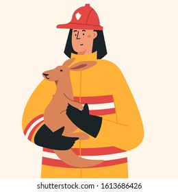 Firefighter in fire fighting operation. Vector flat heroic firewoman in protective suit and yellow helmet helps kangaroo. Web banner, webpage, landing page cartoon concept