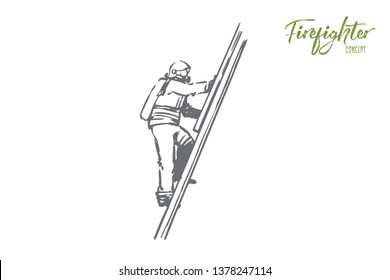 Firefighter, fire, rescue, danger, stairs concept. Hand drawn firefighter climbs the stairs concept sketch. Isolated vector illustration.