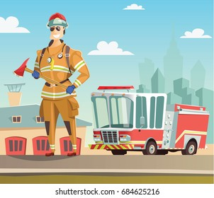 Firefighter and fire truck in station