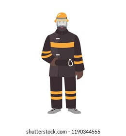 Firefighter, fireman or rescuer wearing fireproof protective clothes or uniform and helmet. Funny male cartoon character isolated on white background. Colorful vector illustration in flat style.