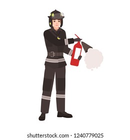 Firefighter, fireman or rescuer wearing fireproof protective uniform, helmet and holding fire extinguisher. Male cartoon character isolated on white background. Colorful flat vector illustration.