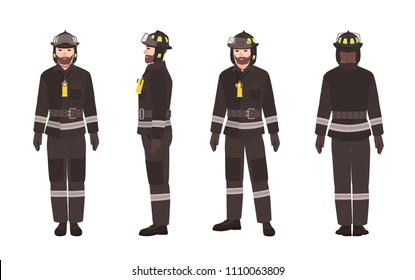 Firefighter or fireman wearing protective clothes or uniform and helmet isolated on white background. Male cartoon character. Front, back and side views. Colorful vector illustration in flat style