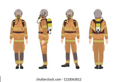 Firefighter or fireman wearing protective gear or uniform, helmet, breathing apparatus and air cylinder. Male cartoon character isolated on white background. Colorful flat vector illustration