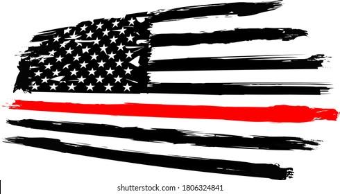 Firefighter Flag, EPS 10, Fire, Department, USA, Flag,