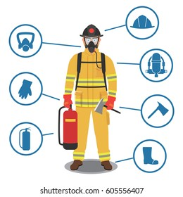 Firefighter gear, equipment and tools with fully protective suit.