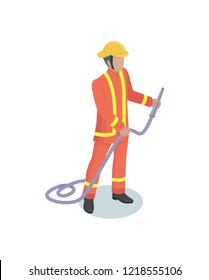 Fire-fighter in general service uniform holding firehose isometric model. Male figure fire station worker in rescue operations uniform vector icon.