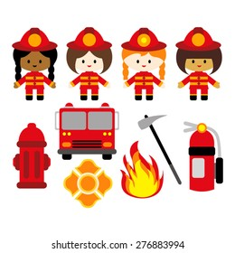 Firefighter girl vector.