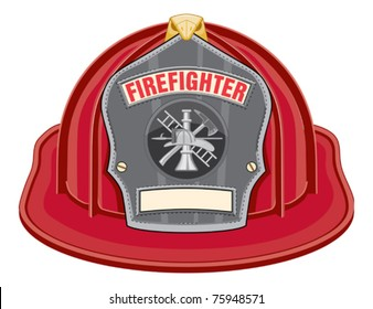 Firefighter Helmet Black is an illustration of a black firefighter helmet or fireman hat from the front. Vector format is easily edited or separated for print and screen print.