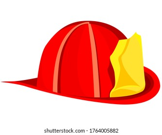 Firefighter helmet isolated on white background. Red fireman hat in cartoon style.